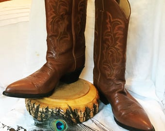 Vintage Justin's Cognac Brown Genuine Leather Cowboy Boots Women's Size 8.5 Cowgirl Western Style Topstitching Made in US Hippie Boho Gypsy