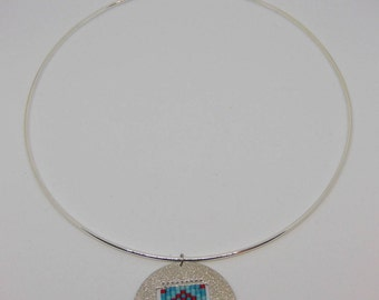 Court round silver with red and turquoise Medallion necklace