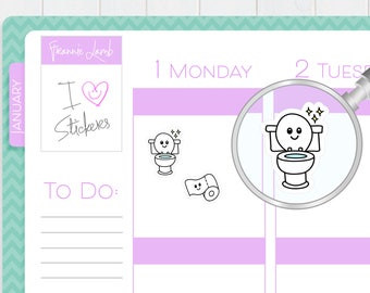 Toilet Stickers, Planner Stickers, Toilet Cleaning Stickers, Chore Reminder Stickers, Calendar Stickers, Kawaii Stickers, Cleaning Stickers