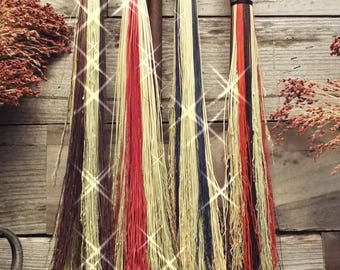 Colored Plaited (weaved) Cobweb Brooms, Home decor, Harry Potter & Hocus Pocus Costume accessory, witches and Wizards