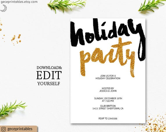 Gold holiday party invitation template printable gold glitter il570xn solutioingenieria Images