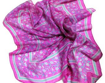 Vintage magenta silk scarf hand rolled edges