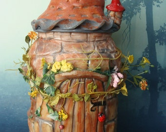 """Ooak stone gnome house""""/Fairytale Cottage/Unique Fairy House/ polymer clay house"""