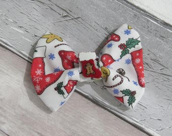 Christmas Stocking Dog Bow Tie, Dog clothing, Doggy Bow Tie, Puppy Bow Tie, Detachable Bow Tie, Slip on bow tie
