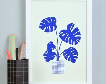 Art print» Monstera «- blue/green.