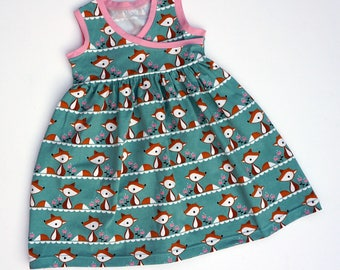 Childs Fox Dress - Organic Baby Clothes, Toddler Clothes, Foxes, Summer Clothes, Girls Clothes, Girls Dress