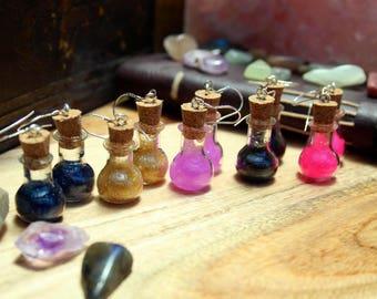 Small Magic Potion Bottle Sterling Silver Resin Earrings