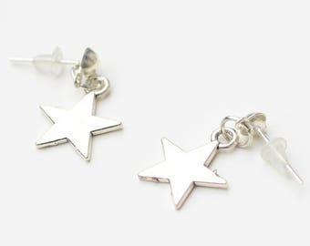 Earrings silvery star chip