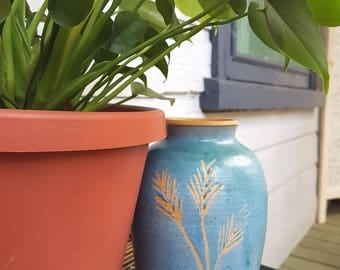 Vintage pottery vase, blue pottery vase, vintage blue vase, carved blue vase