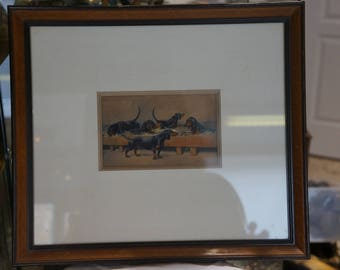 Watercolor theme hunting Charles Ferdinand de Condamy said W.CODDY beautiful side