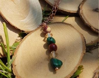 mookaite and malachite bare copper necklaces
