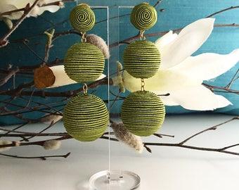 Green Silk Bonbons Earrings