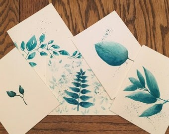 Set of five, whimsical turquoise inspired leaves
