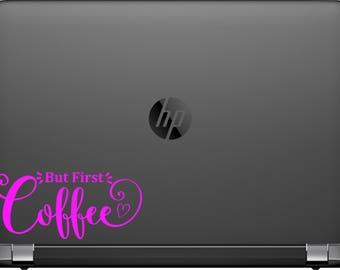 But First Coffee Car Window Laptop Decal Sticker