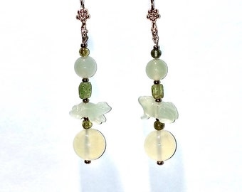 Jade Frog Earrings