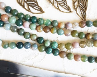 8mm Indian agate beads, Mala beads, Smooth round beads, Protection beads, 8mm Agate beads, Multicolor beads, Jewelry supplies, Diy supplies