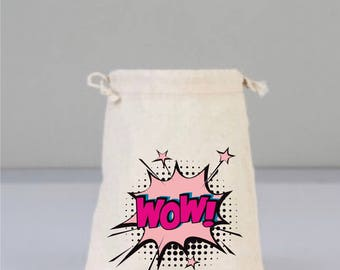 Drawstring cotton bag, WOW, WOW Embroidery Design, Daily Pouch, Cotton Gift Bag, Funny Bags, Pink design,Fuchsia Bag, Speech Bubble