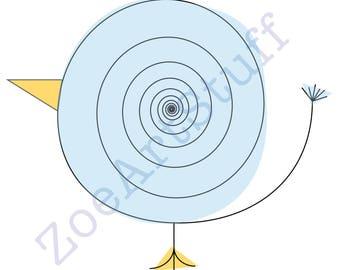 Illustration - Swirly Bird - Digital Download