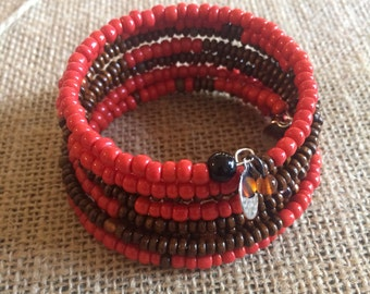 Memory Wire Bracelet, Red Opaque(Reddish Orange), Wooden Beads, Red Opaque Glass Beads