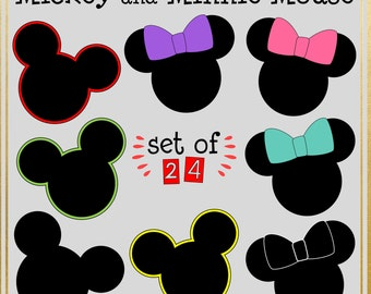Mouse Ears Cipart. Mickey. Minnie with Bow. 24 total clip art elements. PNG files.