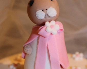 Hand Crafted Flopsy Bunny birthday/Christening cake topper with blossom
