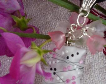 Necklace handmade Lampwork Glass Bead rectangular smooth