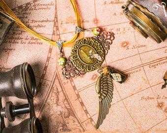 Necklace steampunk bronze cabochon cogs fern natural vial poison wing beads cloisonné - Poison