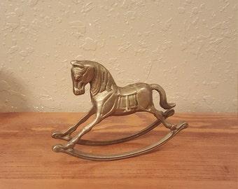 Vintage brass rocking horse figurine. Baby gift, equestrian, mid century