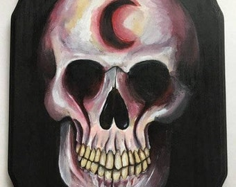 Moon Man Skull Wood Sign