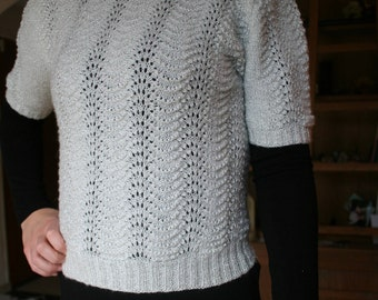 White with silver threads - knit sweater handmade