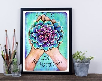 Colorful Mandala Succulent In Hand Original Watercolor Art Painting Print