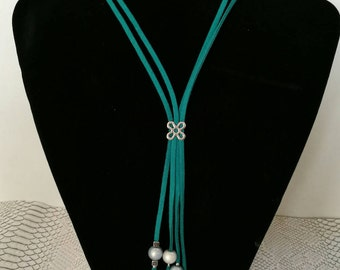Emerald connector suede flower, silver pendants and grey beads necklace