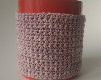 Mug warmer customizable Word crochet knit handmade cotton