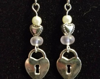 Silver and pearl heart earrings