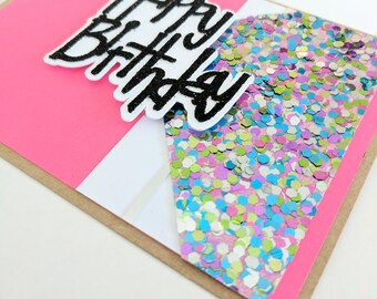 Funky Pink Glitter and Sequin Handmade Birthday Card