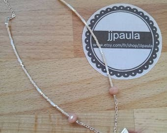 fine bohemian necklace in nude pink