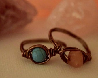 Wire Wrapped Ring Natural Turquoise Round Gemstone Brass Wire