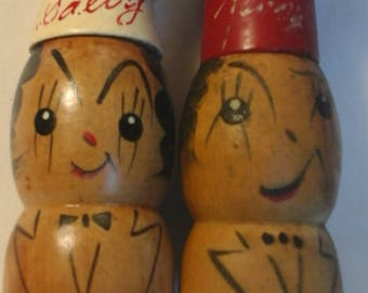 Vintage  wood Salty and Pepper shakers