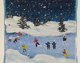 Winter Skaters Original painting -  - Xmas tree ornament - 4 x 4 acrylic painting on canvas