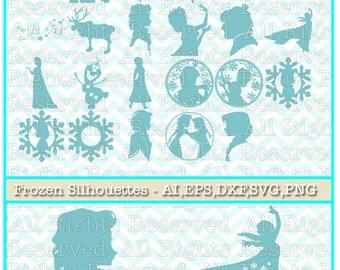 Frozen SVG, Elsa and Anna svg, Olaf, Sven svg, Disney Princess svg files for silhouette or cricut, dxf, clipart, cut file