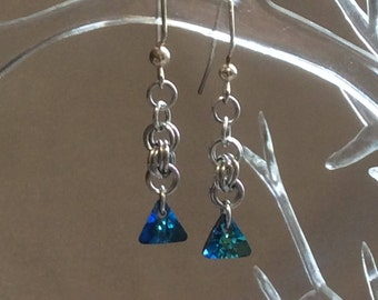 Double Spiral Chain Mail Earrings with Bermuda Blue Swarovski Crystal