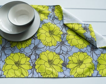 Tea Towel Made from 100% Cotton in Dahlia Lime Brown Pattern