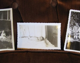 Vintage Set of 3 Real Photos w Babies, Toddlers, & Children - Indoor and Outdoor - Home Photography Black and White