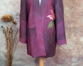 Hand embroidered painted silk linen kimono jacket,new bespoke jacket,embroidered lily design,hand painted silk linen,ombre blended colours.
