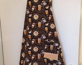 Women's Apron, Brown, Full length, with Coffee