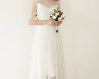 Lace tea-length wedding dress, short lace wedding dress, bridal lace gown  / Aria