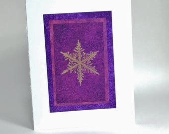 Snowflake blank card: hand-painted purple layers with gold embossing, individually handmade; SKU BLA21055