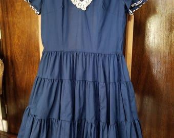 Kate Schorer Originals Vintage Dress, Blue with White Trim
