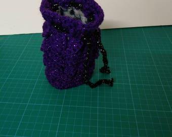 Purple sparkle Dragon scale crocheted dice bag
