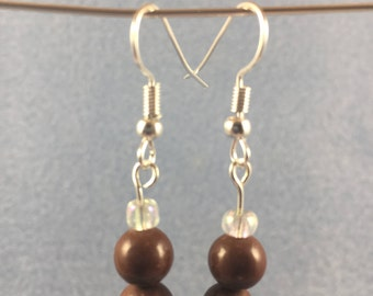 Brown Clay Beads w/ Sterling Silver Ear Wires